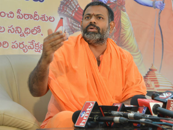 Swami Paripurnanada Hard commets on Mla Nani