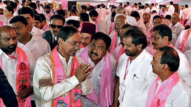 Celebrations at TRS party office
